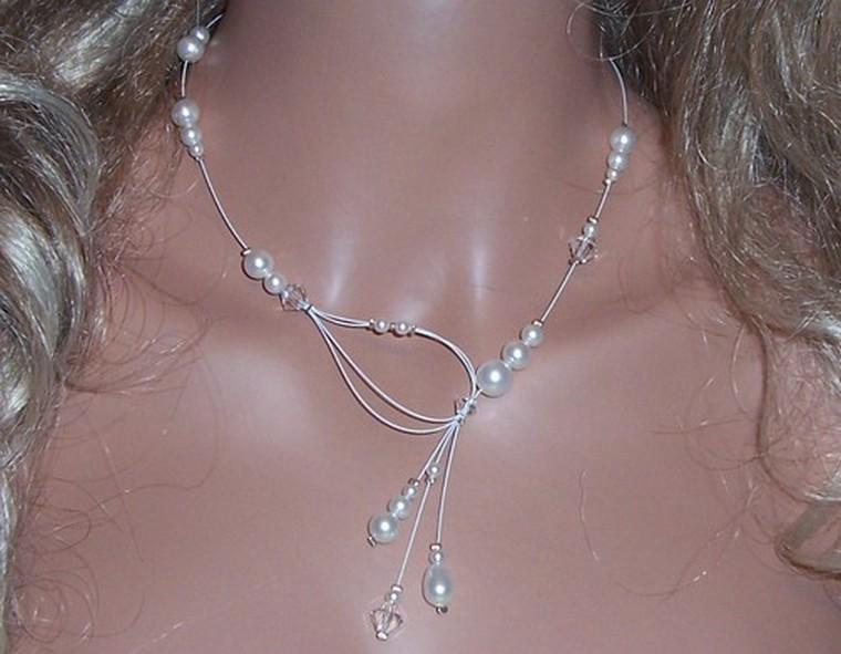 Collier mariage, collier fil câblé