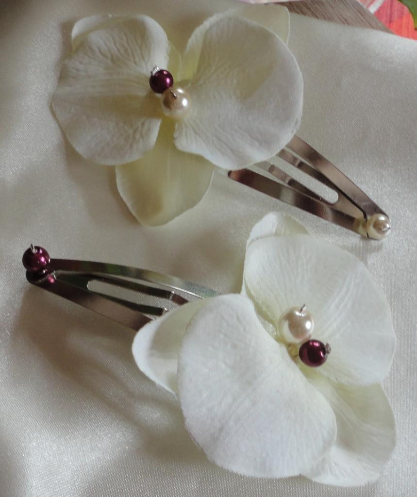Pince orchidée coeur perles