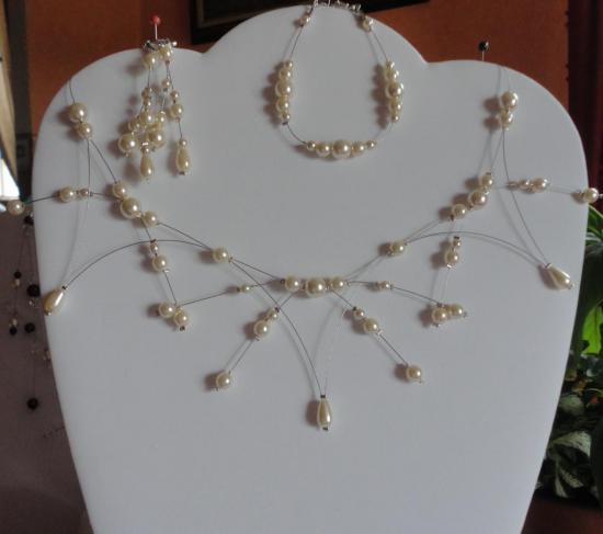 Parure mariage perles nacrées ivoire