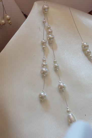 Bijou de dos mariage, perles nacrées ivoire