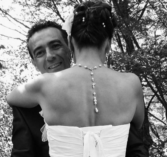 Collier mariage pas cher , bijou de dos, perles nacrées ivoire