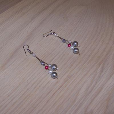 Boucles d'oreilles mariage gris fuchsia