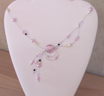 collier mariage rose ivoire