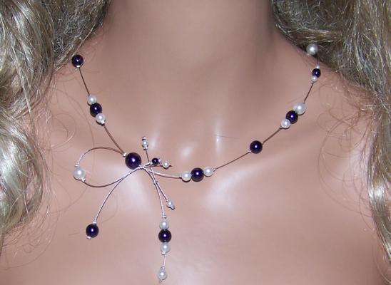 Collier mariage perles mauve (dark purple)