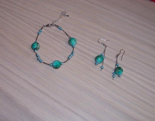 Accessoires mariage couleur bracelet boucles d'oreilles