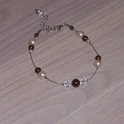 Bracelet mariage chocolat ivoire