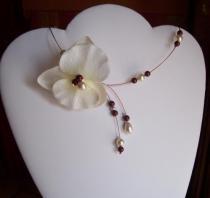 Collier mariage fil câblé orchidée