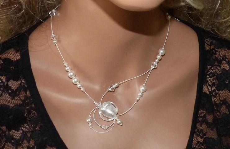 Collier mariage, perles nacrées blanches