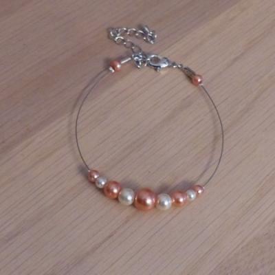 Bracelet corail orangé ivoire