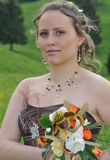Collier mariage chocolat ivoire