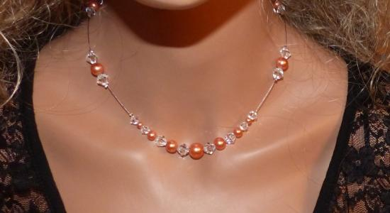 Collier mariage corail