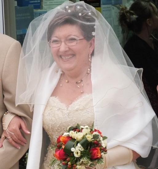 Mariage Béatrice, perles nacrées dorées, topaze