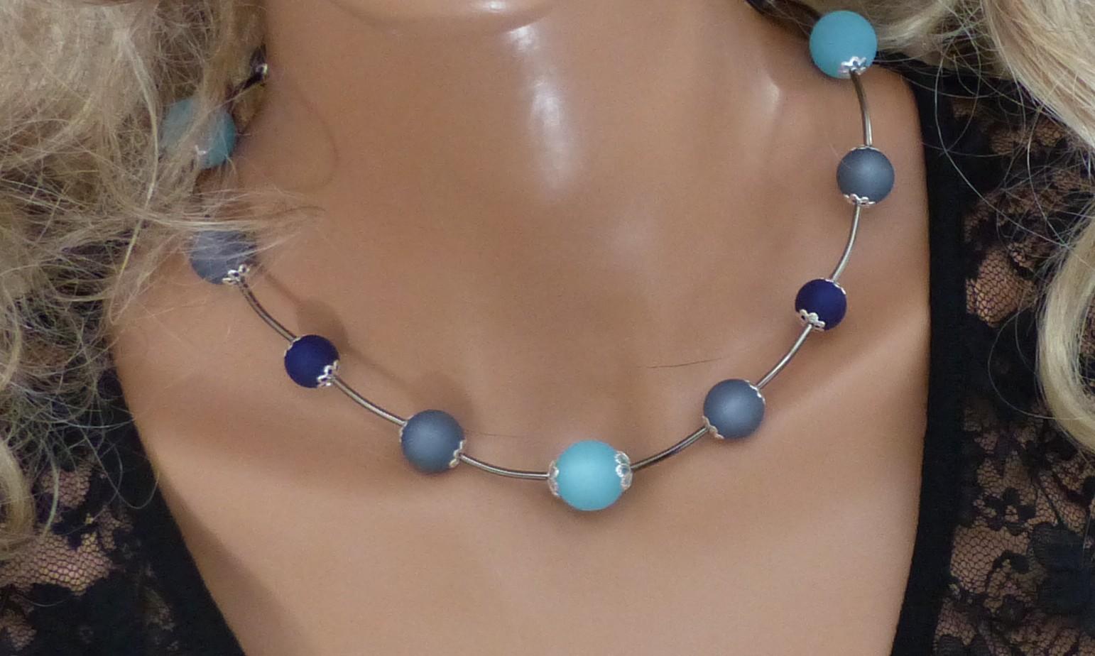 Collier bleu, collier perles polaris bleu