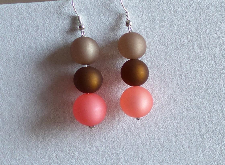 Boucles d'oreilles polaris, 3 perles corail, beige et marron