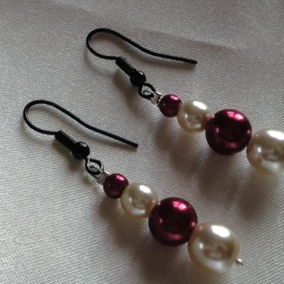 Boucles d'oreilles mariage perles nacrées bordeaux ivoire