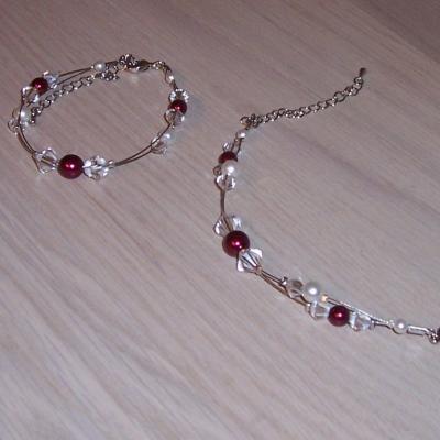 Bracelet mariage bordeaux ivoire