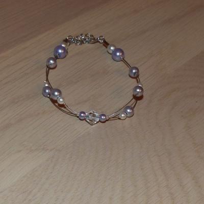 Bracelet mauve  clair cristal