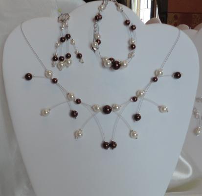 Collier mariage perles nacrées chocolat ivoire