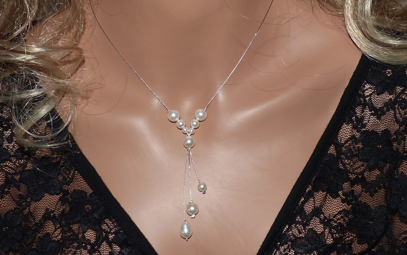 Collier mariage blanc, collier mariée blanc, perles blanches