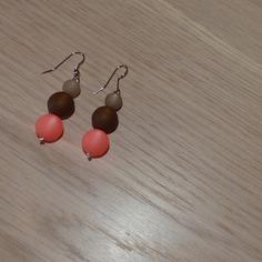 Boucles d'oreilles polaris, perles polaris corail marron et beige