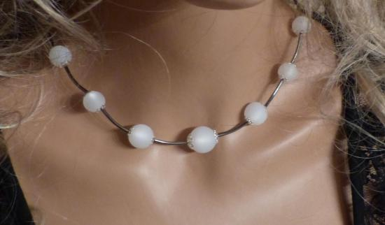 Collier printemps été, collier cirstal blanc