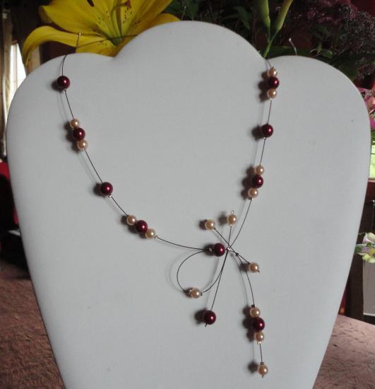 Collier mariage perles bordeaux et ivoire
