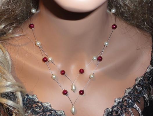 collier mariage fil câblé perles bordeaux ivoire