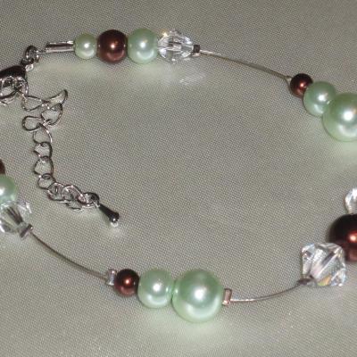 Bracelet mariage vert chocolat cristal