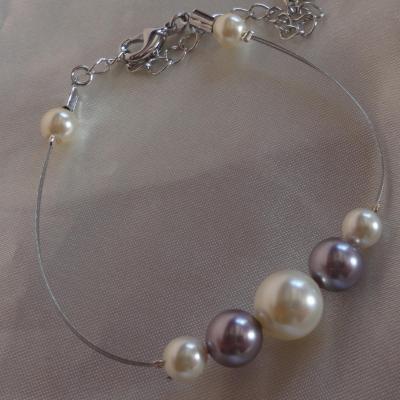 Bracelet mariage mauve ivoire