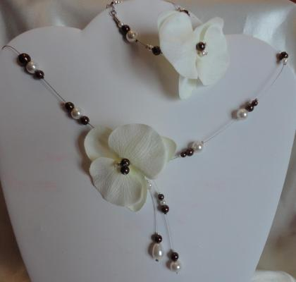 Collier mariage chocolat ivoire orchidée