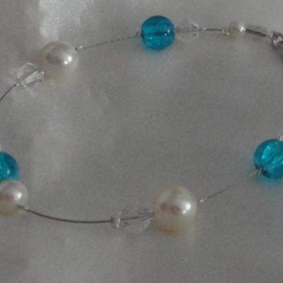 Bracelet mariage bleu ivoire