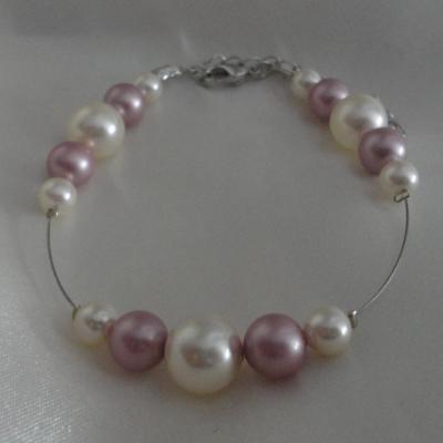 Bracelet mariage rose poudré ivoire
