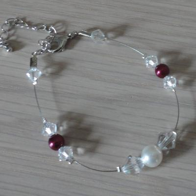 Bracelet mariage blanc bordeaux