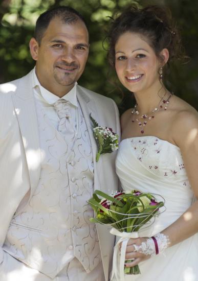 collier mariage bordeaux ivoire