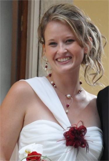 Parure mariage bordeaux ivoire