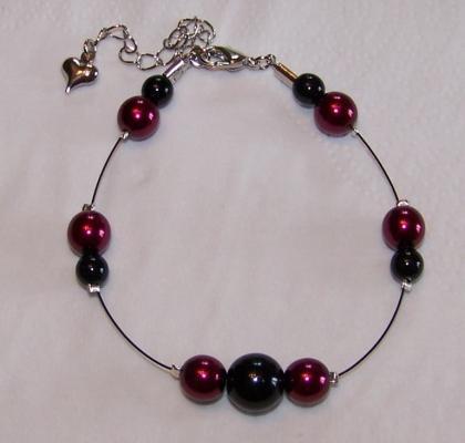 Bracelet mariage perles noires et bordeaux