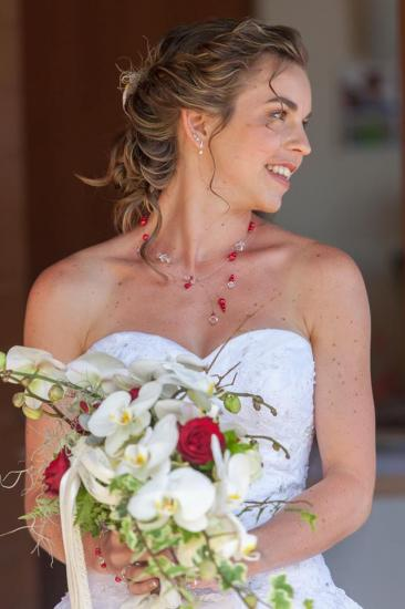 Collier mariage rouge blanc