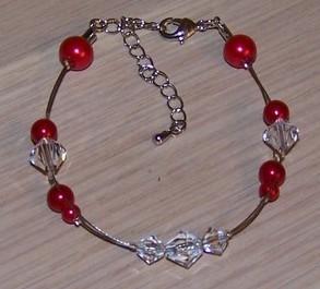 Bracelet perles rouges et cristal