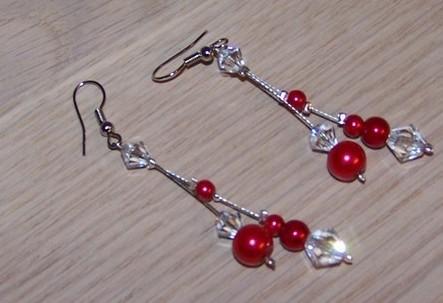 Boucles d'oreilles mariage rouge cristal