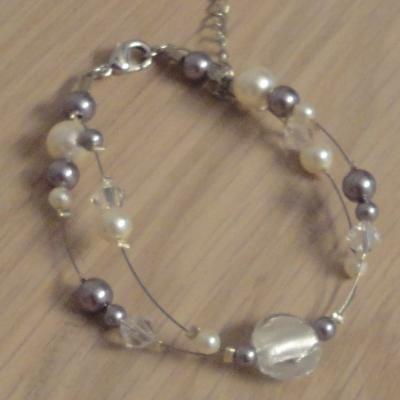 Bracelet ton mauve cristal