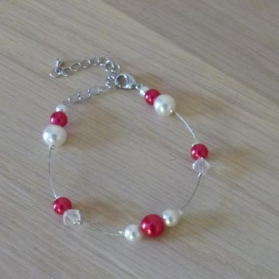 Bracelet mariage rouge blanc