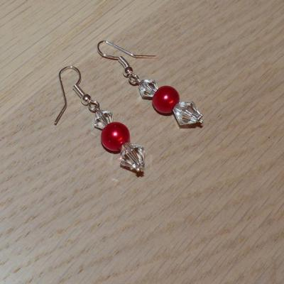 Boucles d'oreilles mariage rouge