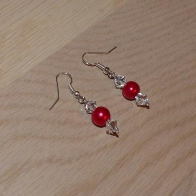 Boucles d'oreilles rouge mariage