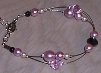 Bracelet mariage rose noir ivoire