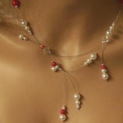 Collier mariée, collier mariage,  collier soirée, collier rouge, cristal